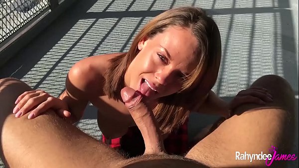 Rahyndee James Brunette Babe Blowjob And Bent Over The Balcony Fucking