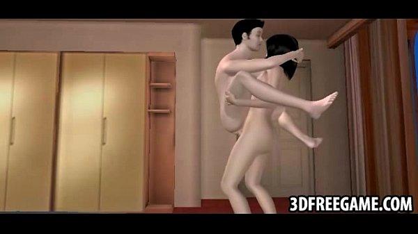 A brunette with a big 3D cock and big tits fucks