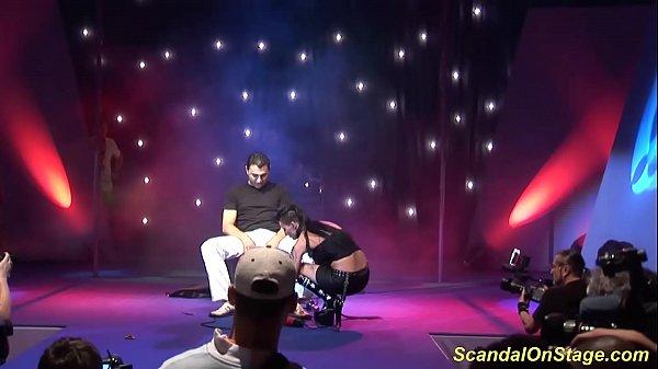 bizarre fetish show on public stage