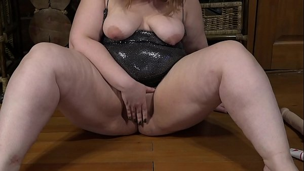 Beautiful BBW masturbates with a stranger in front of a webcam and with a big dildo fucks fat pussy.