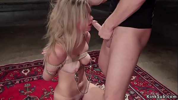 Tied up blonde gets slave anal training