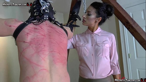 Hooded femdom slave is whipped and stomped by Tangent Thumb