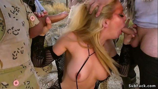 Hot blonde orgy fucked in a desert