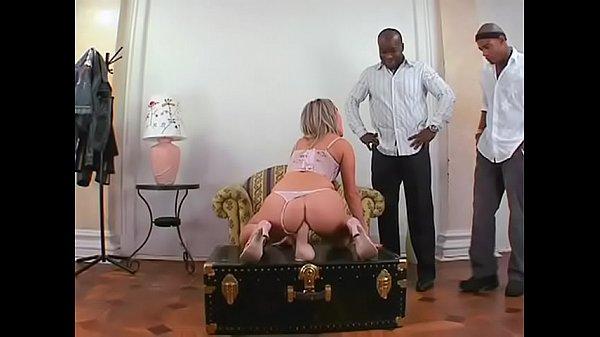 Horny blonde bitch Xandy taking two black dicks