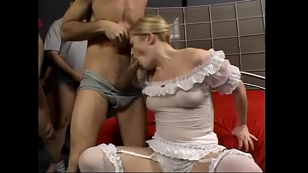Young blonde gets four hard cocks in her holes