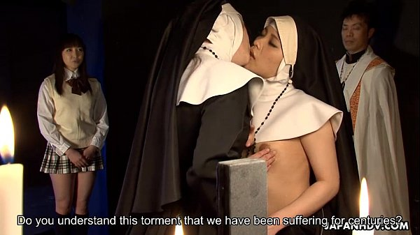 Two nuns scissor fucking each other's pussies
