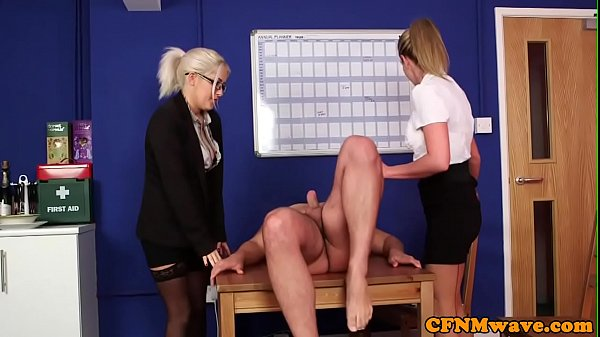 Alluring CFNM babes blackmailing guy