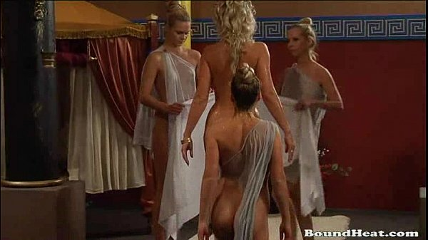 Busty Girls And Tied Up Slaves Together In A Castle