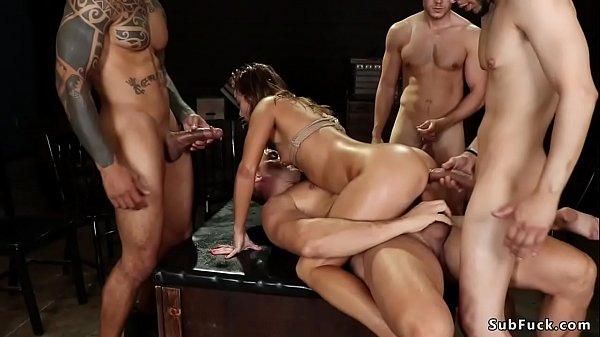 Tied Asian hottie dp fucked