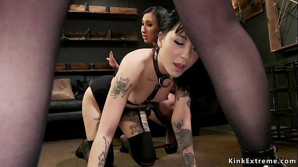 Lesbian in bondage threesome fucked