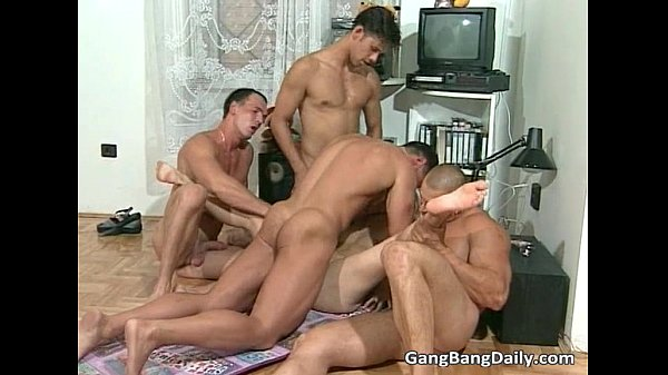 German gang bang where horny blonde slut
