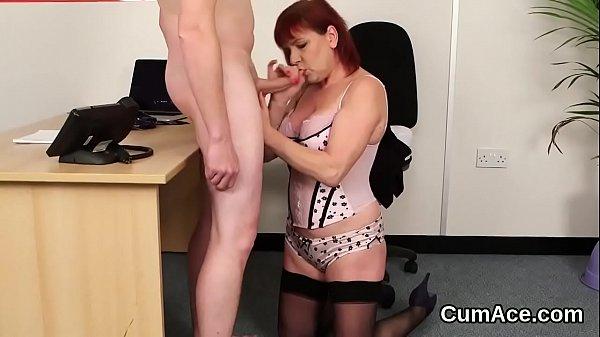 Flirty bombshell gets cum shot on her face suck...
