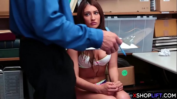 Teen with natural tits caught stealing by security