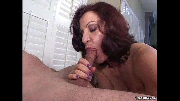 Smoking mom gives hot blowjob