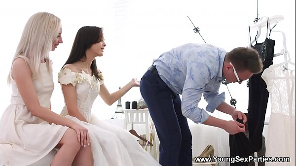 Young Sex Parties - Dress fitting and a threewa...