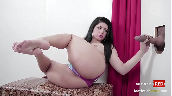 Beauty Britney sucking huge dick and masturbate with her perfect feet in gloryhole