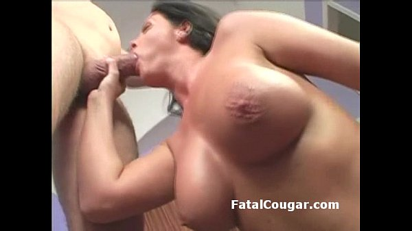 Big boob cougar with trimmed pussy is rammed wi...