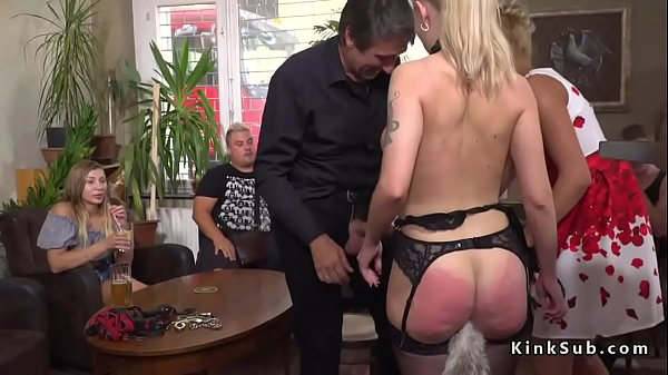 Huge tits slave gets anal in public Thumb