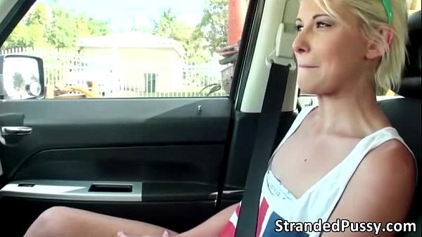 Gorgeous blonde Dani Desire gets fucked in the backseat by the stranger
