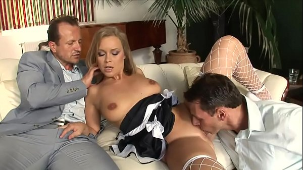 Blonde slut has a cock in mouth & in her cunt too