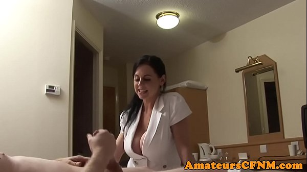 Bigtitted cfnm babe doggystyled in stockings