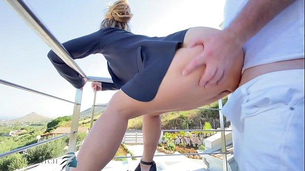 stranger fucks business woman on balcony, busin...