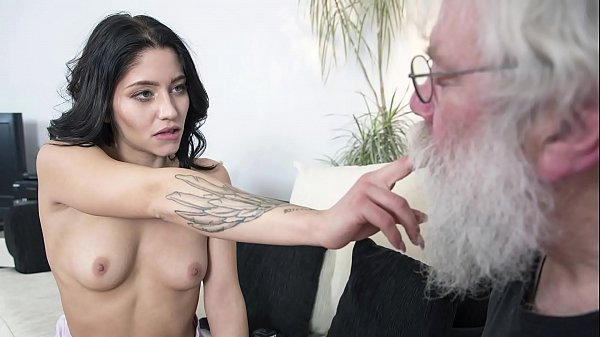 Grandpa sucks y. tits then gets a deepthroat blowjob