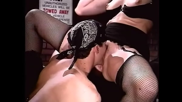 Two hot girlfriends in beautiful lingerie are having a sex party with two bikers in the garage Thumb