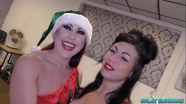 Xmas bukkake party fun for UK sluts