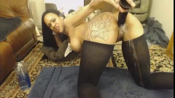 Tattoo Ebony c. On Dildo XXHotCam.com
