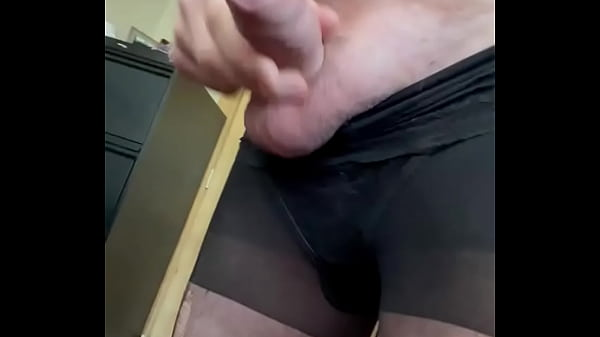 Pulling on her pantyhose and cum shot