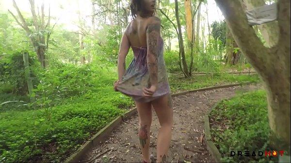 Naughty Brazilian Girl fucks her ass in a public Park - Dread Hot Thumb