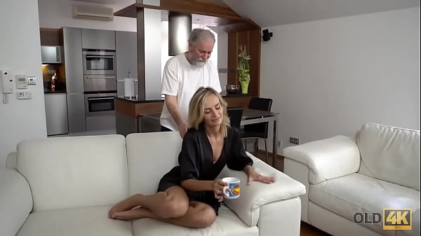 OLD4K. Belle takes part in spontaneous lovemaking with her old hubby Thumb