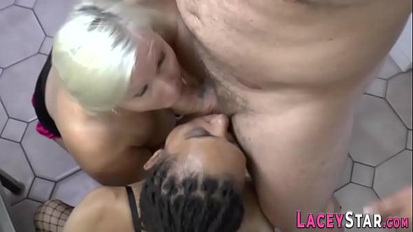 Ebony milf and gran ride and suck cock