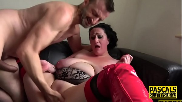 Chubby submissive throats and gets fucked