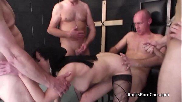 30 second cummer cum in nuns mouth before gangbang