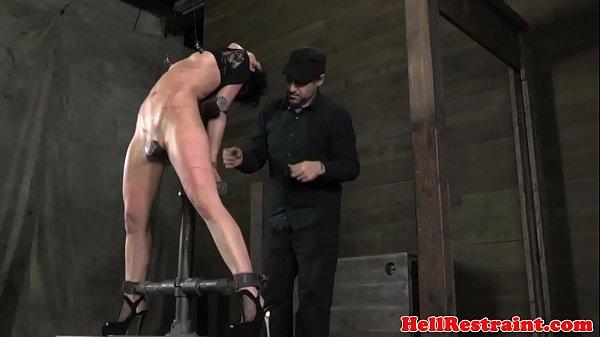 Tiedup nipple clamp slut caned by maledom