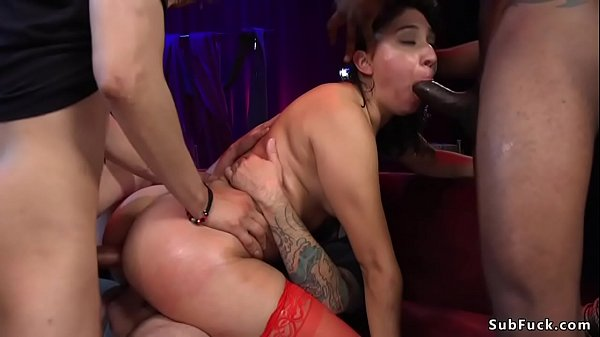 Brunette gets orgy fucked at theater Thumb