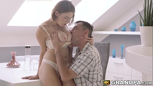 Phenomenal young beauty hammered by grandpa wit...