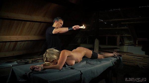 Slave and master light bondage sex
