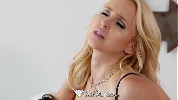 PUREMATURE Busty mature blonde Alix Lynx slobbers and fucks big dick