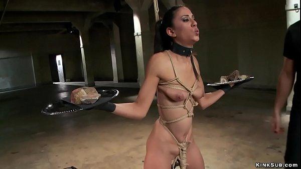 Bound brunette gets torment training