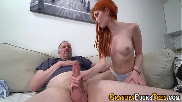 Teen gets pussy creampied by grandpa