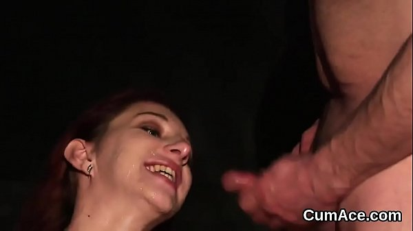 Unusual stunner gets cumshot on her face sucking all the jizz