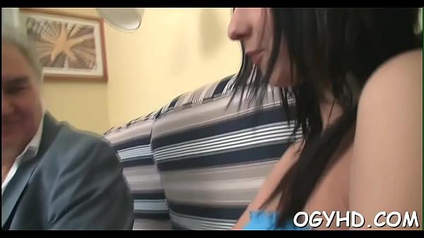Youthful gal blows old ramrod