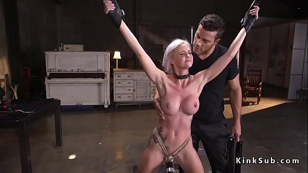 Busty slave rough fucked and vibed