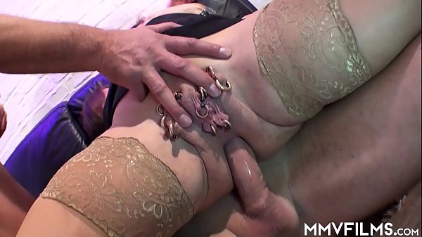 Mature wife gets her pierced pussy double dicked