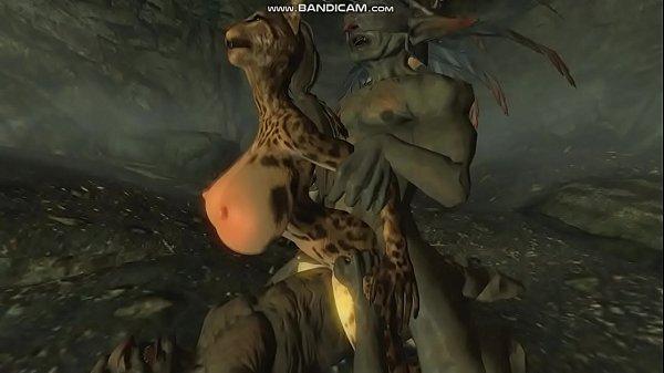 [Skyrim] Big tits whore La'hyza fucked by Goblins