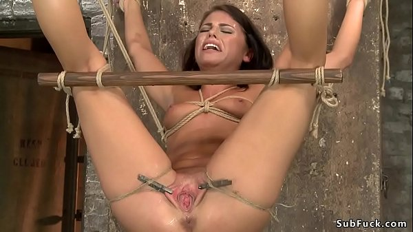 Cute slave is spanked and toyed hogtie