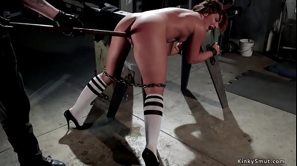 Chained slave fisted and toyed